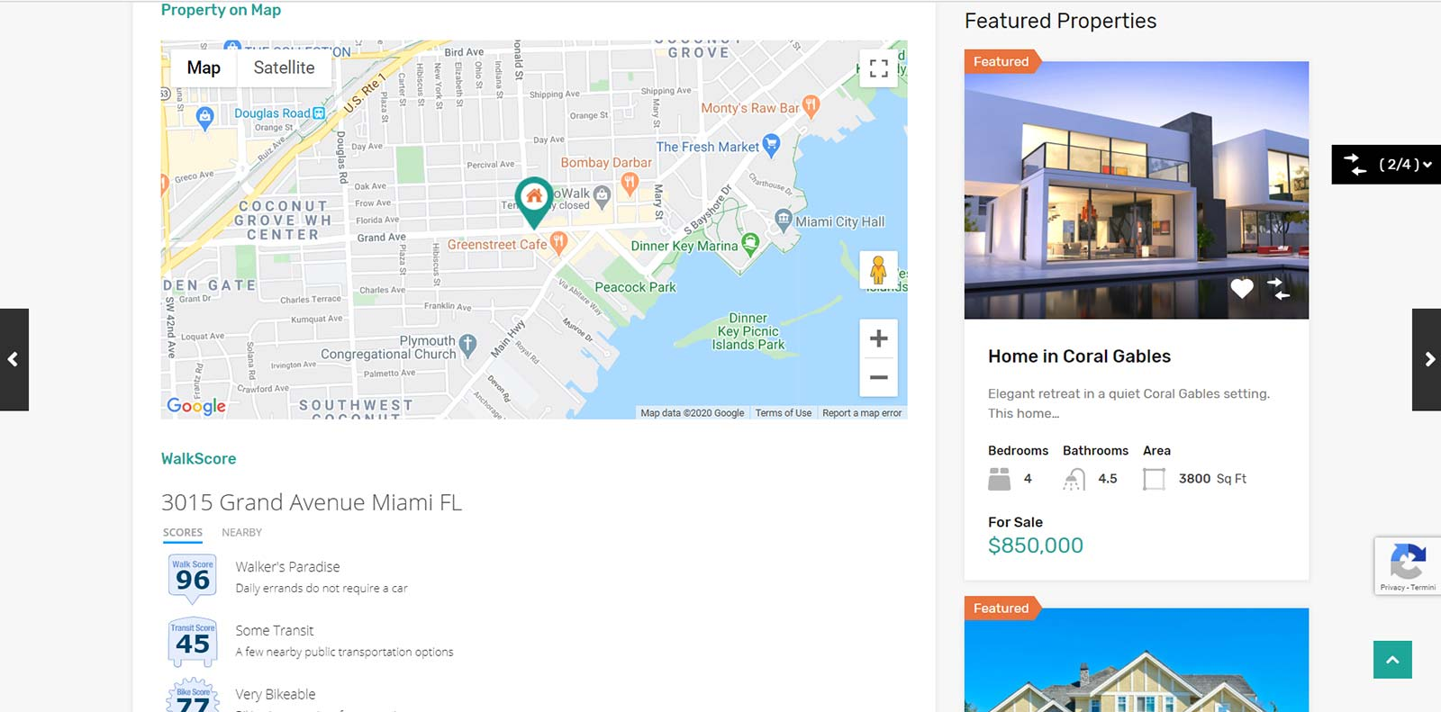 Scheda immobile con mappa realizzazione Siti per agenzie immobiliari